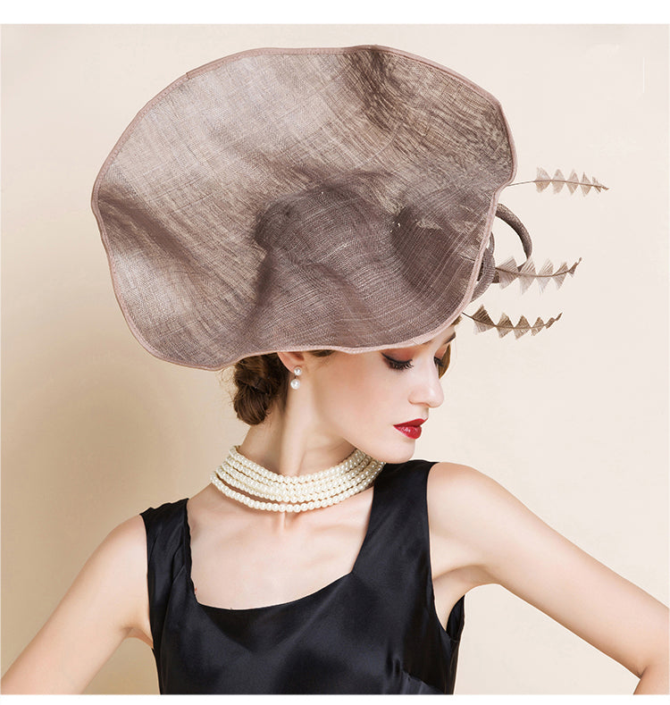 6881ee3eaba03 Hover to zoom · Vintage Elegant Ladies Brown British Linen Evening Hat  Large Brim Hats With Feather Hat for Wedding