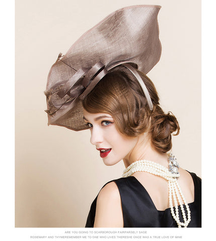 65b93efaf64d5 ... Image of Vintage Elegant Ladies Brown British Linen Evening Hat Large  Brim Hats With Feather Hat ...