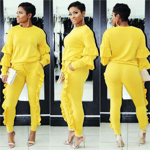 2Pcs Women Ladies Tracksuit Hoodies Sweatshirt Pants Sets Sport Wear Casual Suit- top and pant