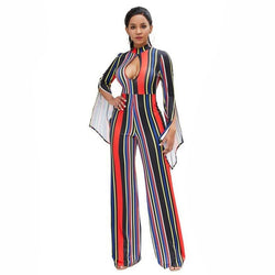 #1512 Spring Autumn Sexy Flare Sleeve Wide Leg Jumpsuit Women Turtleneck Hollow Out Straight High Waist Rompers Striped Print