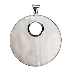 1PC 61x80mm Silver Color Big Round White Natural Mother of Pearl Shell Pendant Charm for DIY Necklace Jewelry Making Accessories
