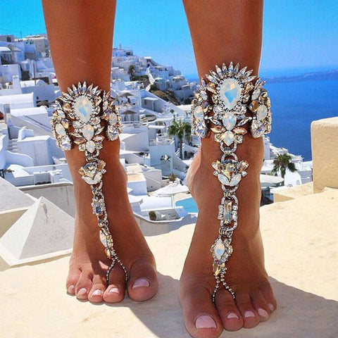 1Pcs Luxury Crystal Rhinestones Gem Flower Pendant Anklet Chain Ankle Barefoot Sandals Foot Jewelry For Women #224647