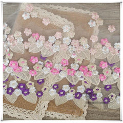 1Yard Size:17cm Embroidery Lace Fabric For Curtains Sofa Lace Trim Handmade DIY Clothing Accessories
