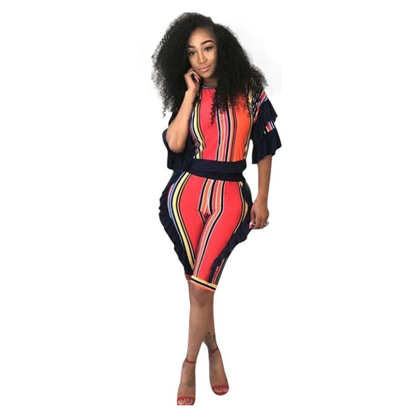 2 Piece Set Women Striped Crop Top and Shorts Two Piece Outfits Summer  Tracksuit Streetwear Fashion ... d522d7f3f6