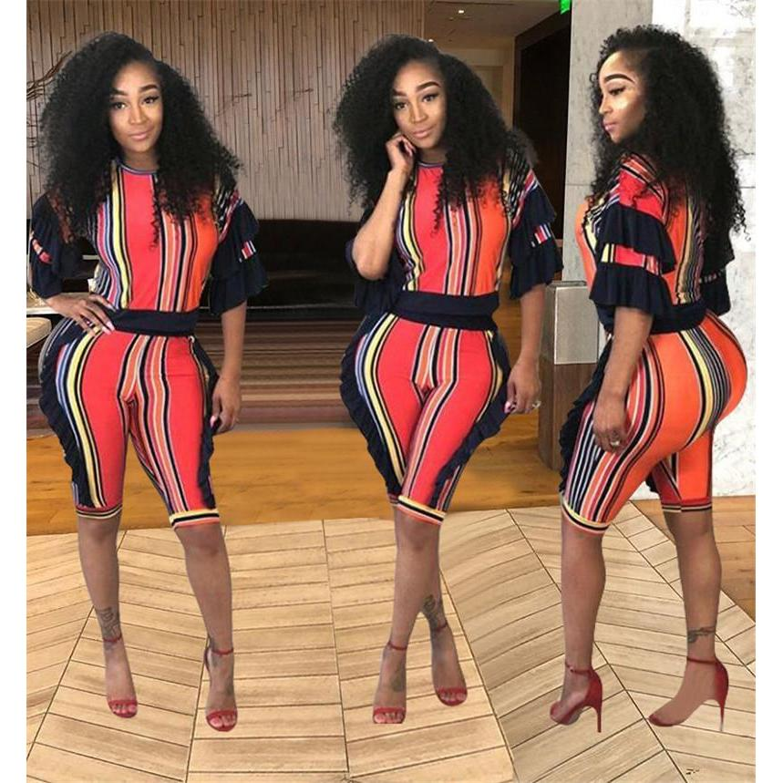 ... 2 Piece Set Women Striped Crop Top and Shorts Two Piece Outfits Summer  Tracksuit Streetwear Fashion ... 32ac5a3c1b