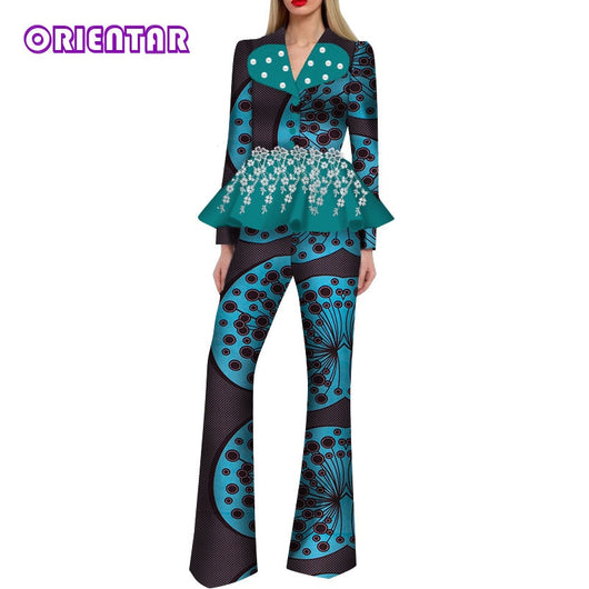 2 Pieces Set African Clothes Set for Women African Print Long Sleeve Tops and Pants Ladies African Tops Pants Suit WY5034