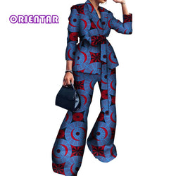 2 Pieces Set African Clothes Women Long Sleeve Tops and Pants Bazin Riche Traditional African Print Cotton Wide Leg Pants WY3908