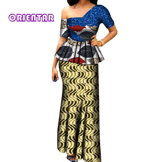 2 Pieces Set African Skirts Set for Women African Clothes Glittering Dashiki Tops and Long Skirts Women African Suits WY6414