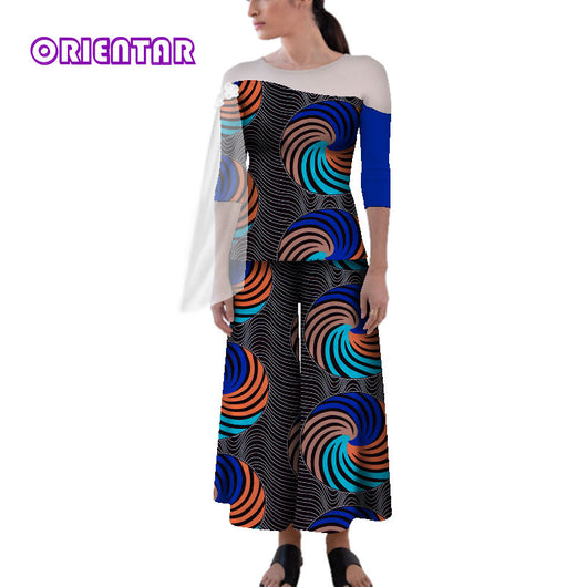 2 Pieces Set African Women Clothes African Print Long Sleeve Tops African Wide Leg Pants Bazin Riche Lady African Clothes WY4837