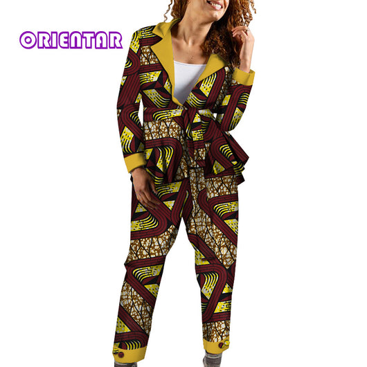 2 Pieces Set Women African Clothes African Print Long Sleeve Tops and Pants Bazin Riche Ladies Clothes African Clothing WY4697
