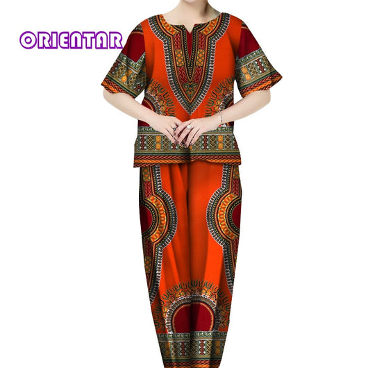 2 Pieces Set Women African Pants Set African Print Tops and Long Pants Bazin Riche African Clothes African Suits Set WY5456