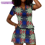 2 Pieces Set Women African Suits African Print Top and Short Pants for Women African Pants Set Bazin Riche Clothing WY5472