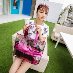Image of 2 Pieces Set Women Handbag With Clutch Bag Splice Transparent Zipped Fashion Korean Sandy Beach Shoulder Bags FA$B Women bag