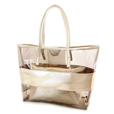 2 Pieces Set Women Handbag With Clutch Bag Splice Transparent Zipped Fashion Korean Sandy Beach Shoulder Bags FA$B Women bag