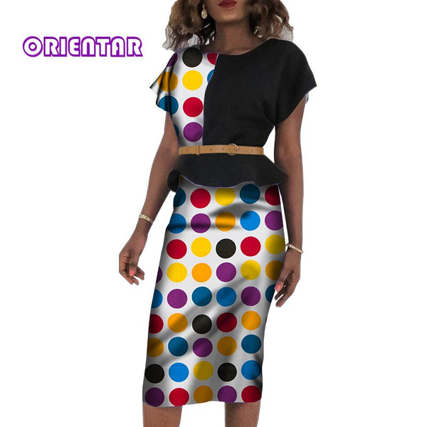 2 Pieces Women African Skirt Set Bazin Riche African Traditional Top and Skirts for Women Office Lady African Skirt Suits WY5216