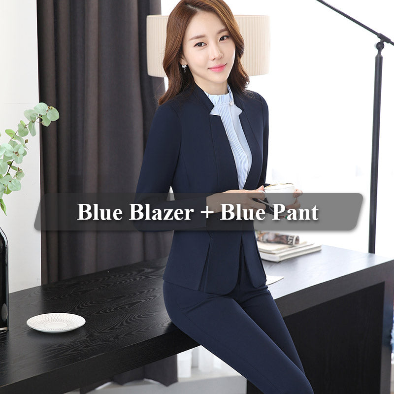 cb7260a22821 Hover to zoom · 2 piece Gray Pant Suits Formal Ladies Office OL Uniform  Designs Women elegant ...