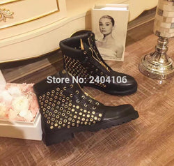 2016 LTTL Autumn women lace-up ankle boots polka dot hollow out women shoes non-slip square heels gold zip zapatos mujer