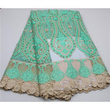 2016 NEW Style  African French Lace Fabric High Quality Nigeria French Net Lace With Stones and Beaded For Women NA128B