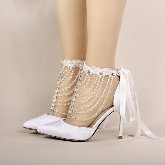 2016  Women Banquet Wedding Shoes Pointed Toe Handmade  Summer High Heel Bridal Shoes White Satin Crystal Wrist Strap Sandals