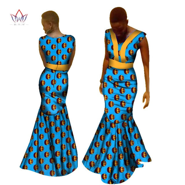 2017 African Print Dresses for Women Dashiki African Print Unique Ethnic  Mermaid Dress Plus Size African Women Clothing WY1890