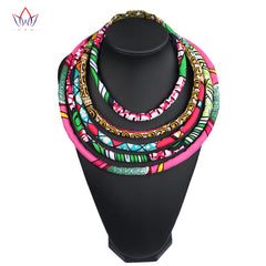 2017 African Wax Print Colorful Necklace Ankara Knot Necklace African Print Fabric Jewelry for Women WYA086