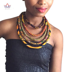Image of 2017 African Wax Print Colorful Necklace Ankara Knot Necklace African Print Fabric Jewelry for Women WYA086
