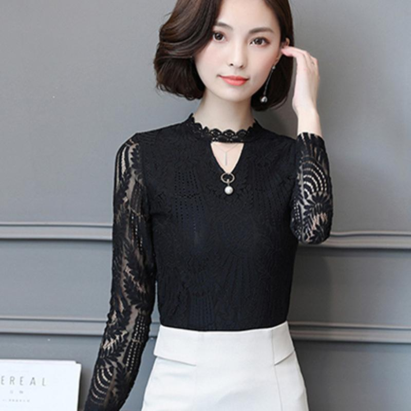 c48540c5 Hover to zoom · 2017 Autumn Women Lace Blouse Long Sleeve Fashion Blouses  and Shirts Crochet Blusas Casual Female Clothing