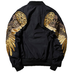 2017 Cool Spring Autumn Black Embroidery Bomber MA1 Jacket Men Streetwear Golden Wings Embroidery Outwear Brand-clothing L121