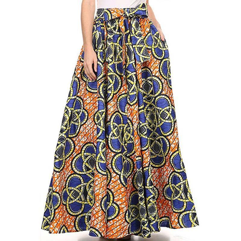 2017 Maxi Pattern African Print Ankara Ball Gown Skirt Elegant Style ...