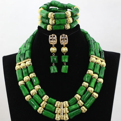 2017 New African Bridal Coral Beads Fashion Necklace Jewelry Set Stone Beaded Women Jewelry Set CNR028