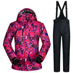 2017 New High Quality Men Skiing Jackets And Pants Snowboard Clothes Thick Warm Waterproof Windproof Winter Dress Leopard Jacket