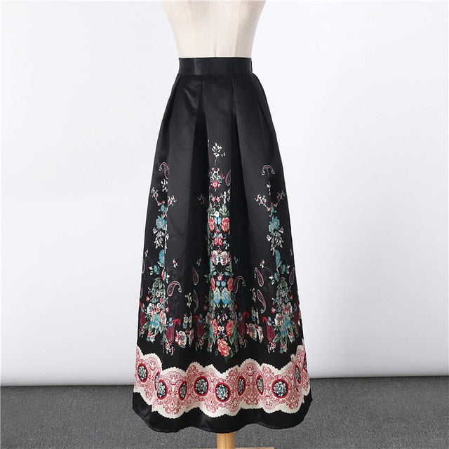 68727aec06 2017 New Satin Women 100cm High Waist Flared Maxi Skirts Peach Blossom  Printed Pleated Floor Length. Hover to zoom