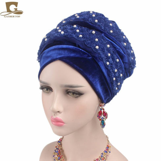 2017 New Women Gorgeous beaded 3D flower Long Velvet Turban Hijab Headscarf Luxurious Head Wraps Turbante