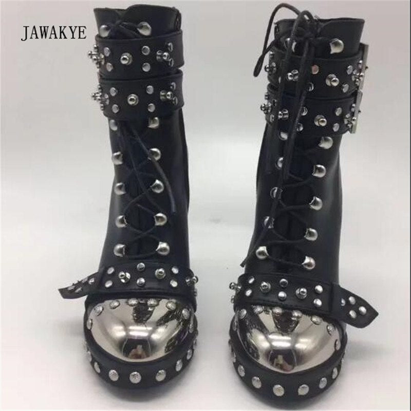 b0a6329f48e4 ... 2017 Punk Black Leather Ankle Boots Woman Metal Round Toe Rivet Buckle  High Heel Shoes Women