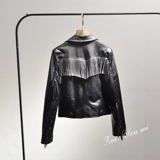 2017 Solid Zipper Slim Selling Tassel Full Women Jacket Spring New Women's Fashion Street Back Fringed Leather Pu Motorcycle