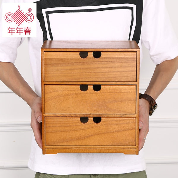 2017 Top Fashion Promotion Jewelry Box Desktop Storage Box Solid Wood Jewelry Multilayer Drawer Type Table File Cabinet Boxes