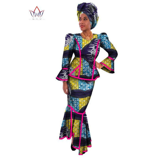 2017 Traditional African Clothing African Dresses for Women Print Wax Women Set African Dashiki Long Skirt Plus Size 6XL WY017