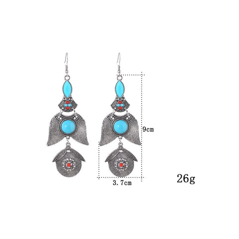 2017 brand Boho gold Color Big gem Crystal Gypsy Ethnic Drop Earrings Vintage Long tassels Channel Earrings for Women Jewelry