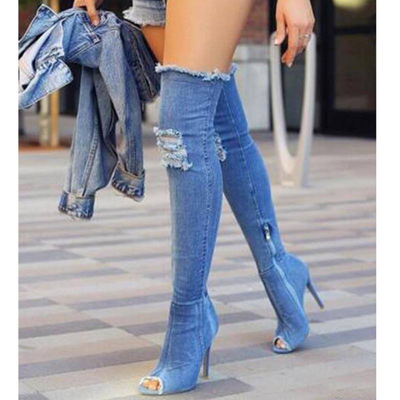 9f29d9ed08f4f7 2017 denim blue over the knee boots woman sexy open toe thin high ...