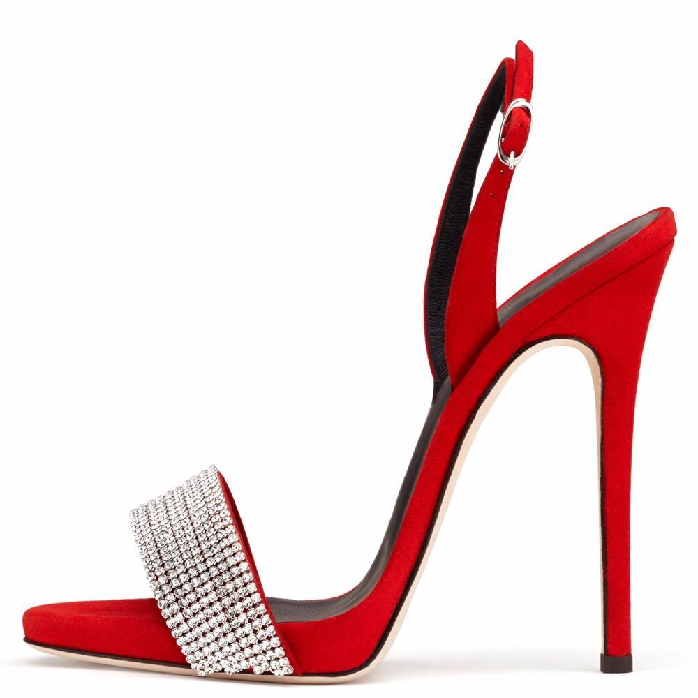 ... 2017 summer sexy red silver wedding shoes extreme high heels Stiletto  rhinestone back strap elegant woman 2650187086e2