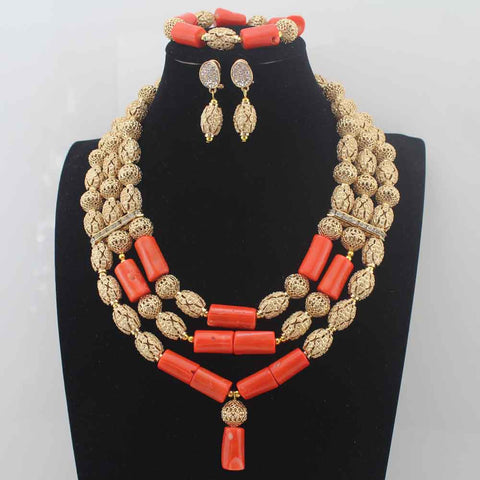 2017New African Red Coral Beads Jewelry Set  earrings Nigerian Wedding Indian Costume Bridal Necklace Set Free Ship W14015