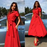2017New Arrival Elegant Women Red Color Dresses Summer Dress Fashion Casual Loose Long Sexy Vintage Beach Maxi Dresses Clothing