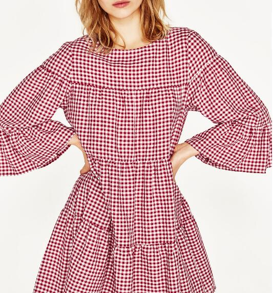 3e5967d60c0eb 2017SS New Woman Fashion College White Red GINGHAM MINI DRESS Round ...