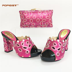 2017Shoes and Bag Set Fuchsia Color Matching Women Shoes and Bags Set Decorated with Rhinestone Italian Shoes with Matching Bag
