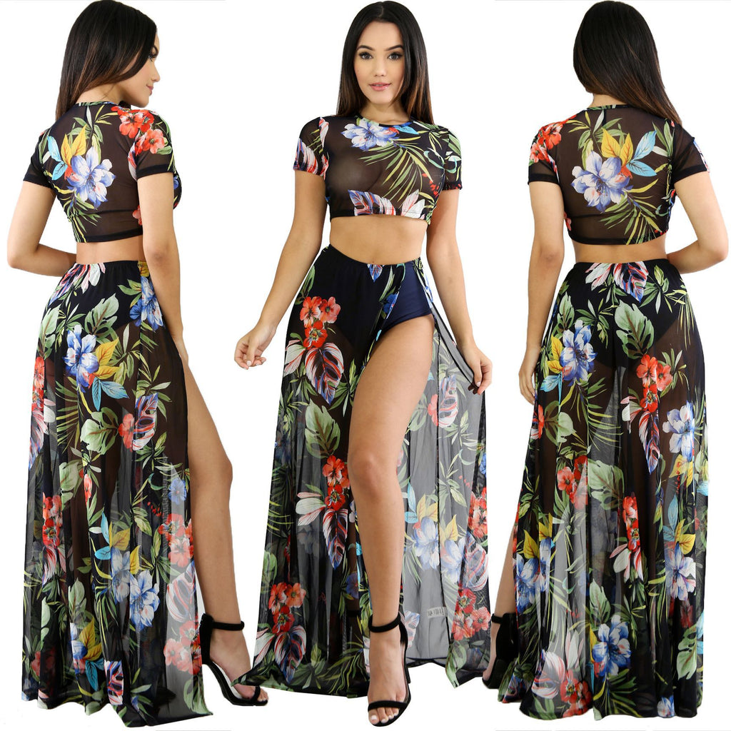 3e7ae7065 2018 2pcs Women's Suits Gauze Foral Print Crop Tops Short Sleeved Floor  Length Split Dress Fashion. Hover to zoom