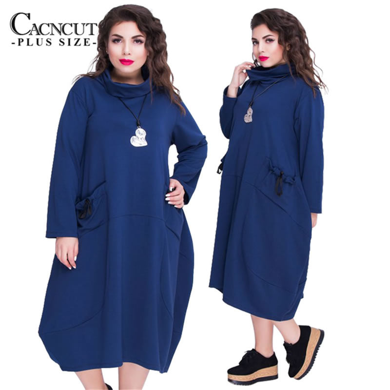 d0b2508fd8880 2018 6XL Plus Size Autumn Winter big sizes dresses with pockets Large Size  women dress long. Hover to zoom