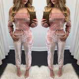 2018 African Dashiki Europe and America sexy gold velvet jumpsuit Autumn Design Long Sleeve Lovely Suit For Lady