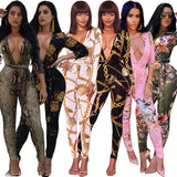 2018 African Dashiki Fashion sexy Printed long-sleeved jumpsuit Nightclub dress Belt included Thick cotton