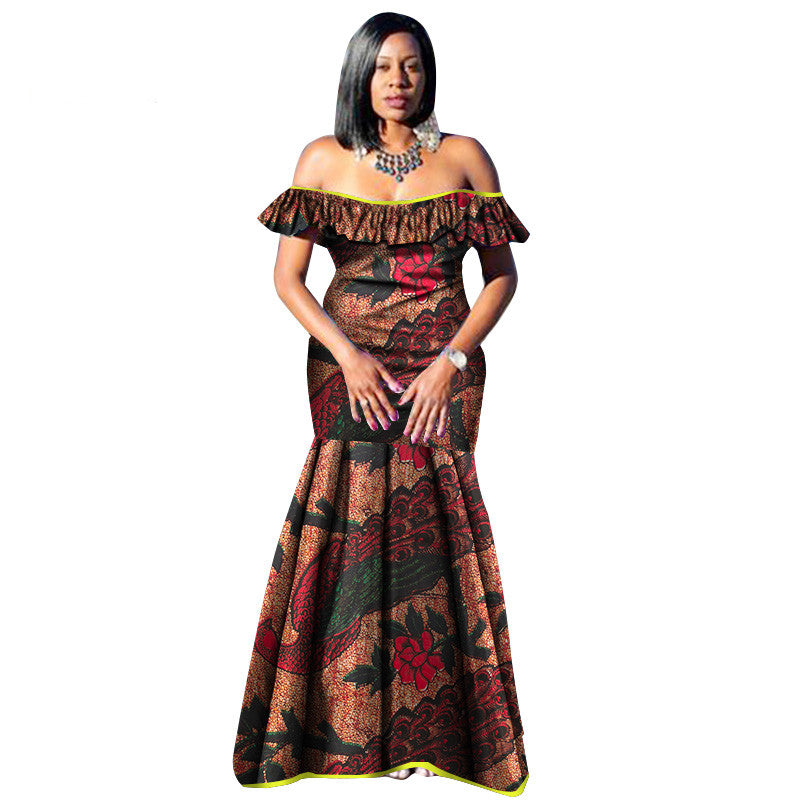 3f89d32a4c9 Hover to zoom · 2018 African Dresses for Women Bazin Wax Print Plus Size  African Clothing Dashiki off Shoulder Party