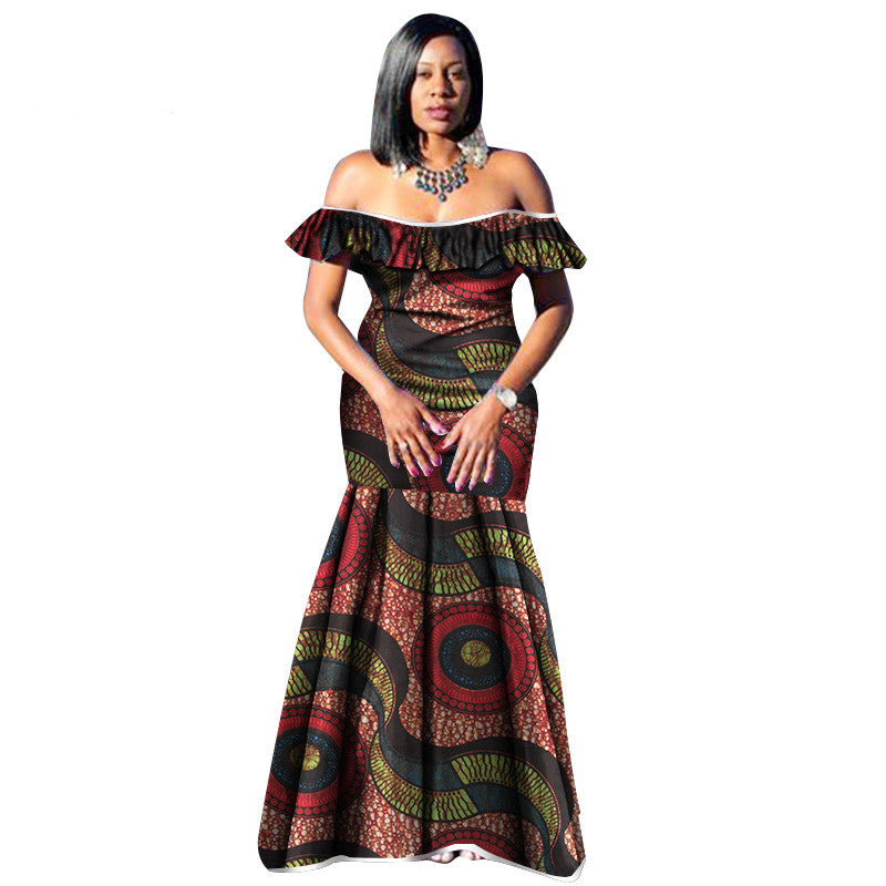 2018 African Dresses for Women Bazin Wax Print Plus Size African Clothing  Dashiki off Shoulder Party DresS